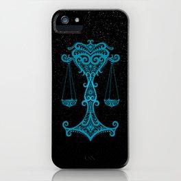 Blue Libra Zodiac Sign in the Stars iPhone Case