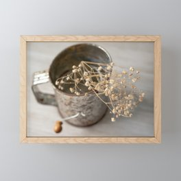 Vintage flour sifter with dried babies breath Framed Mini Art Print