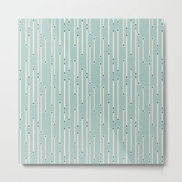 Dotted lines in cream, teal and sea foam Metal Print