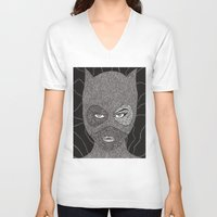 catwoman V-neck T-shirts featuring CATWOMAN by OKAINA IMAGE