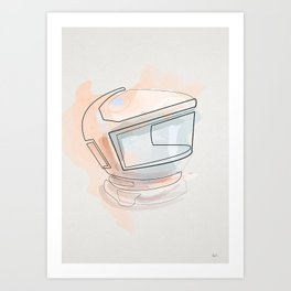One Line 2001 space odyssey helmet Art Print