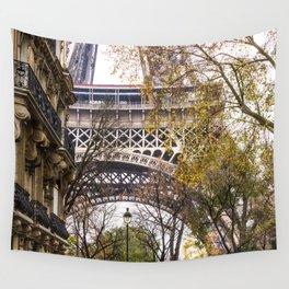 Eiffel Tower in Between Buildings Wall Tapestry