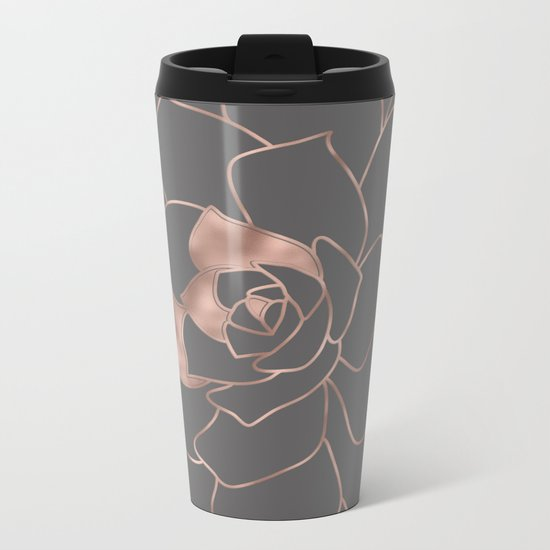 Rosegold  blossom on grey - Pink metal-effect flower Metal Travel Mug