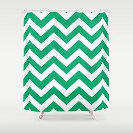 Jade - green color - Zigzag Chevron Pattern Shower Curtain