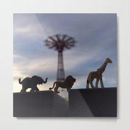 The Coney Island Circus & The Parachute Jump Metal Print