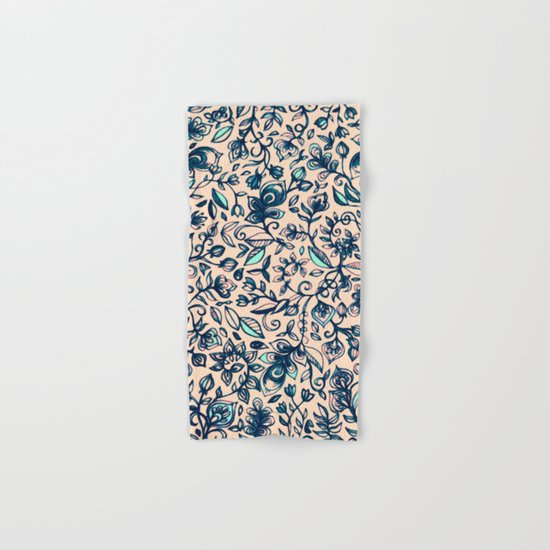 Teal Garden - floral doodle pattern in cream & navy blue Hand & Bath Towel