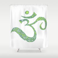 ohm Shower Curtains featuring Color Ohm by Krista Jaworski