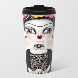 Frida day of the dead Metal Travel Mug