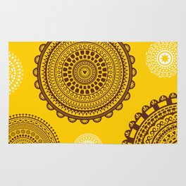 Yellow! Boho style pattern in bright warm tones. Rug