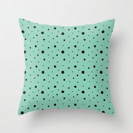 Black polka dots on turquoise. Throw Pillow