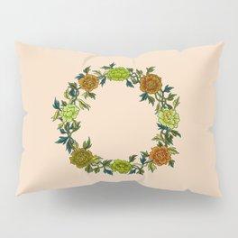 Minhwa: Peony Wreath Green A Type (Korean traditional/folk art)  Pillow Sham
