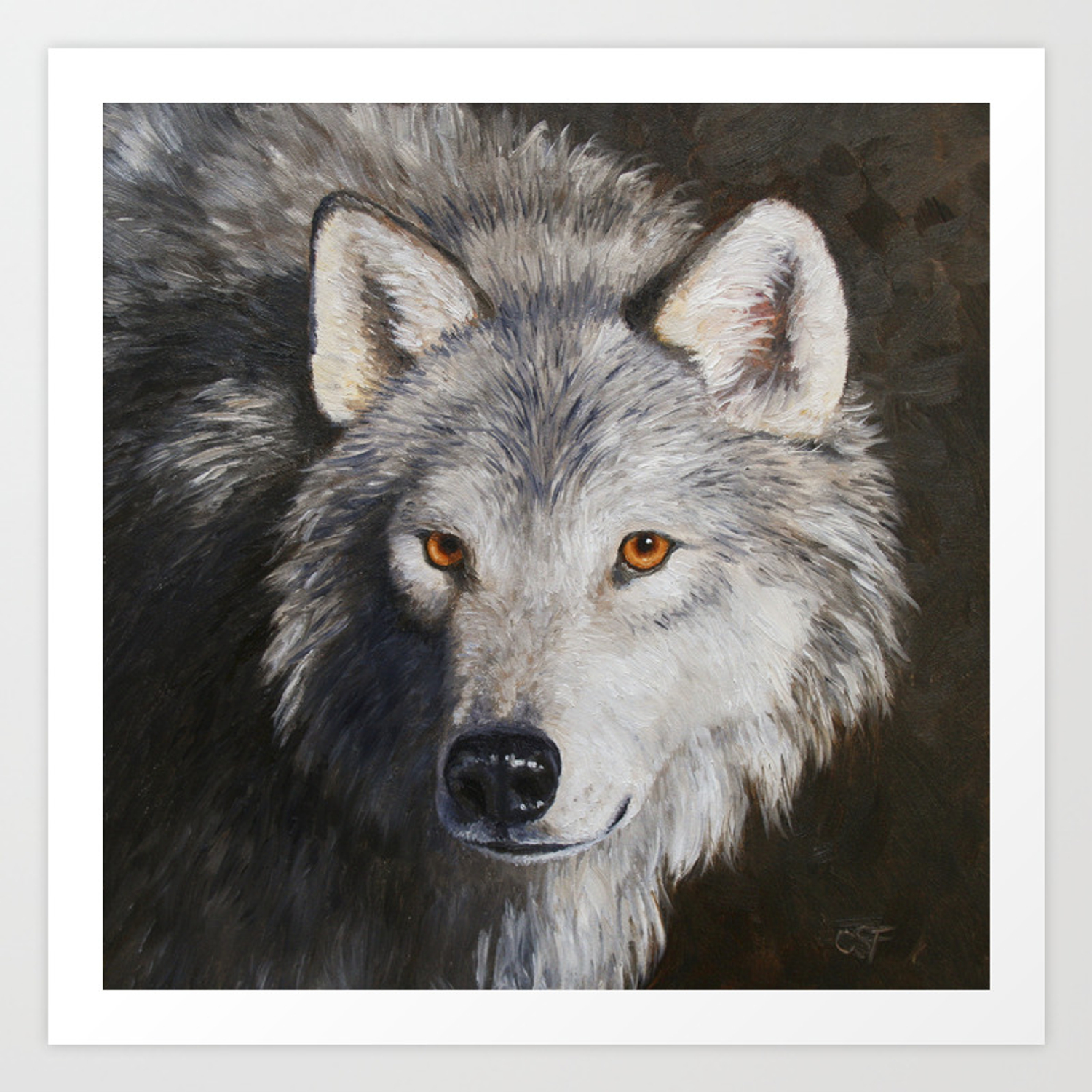 Gray Wolf Face Art Print By Csforest Society6