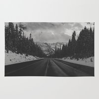 snowboard Area & Throw Rugs featuring December Road Trip in the Pacific Northwest by Leah Flores