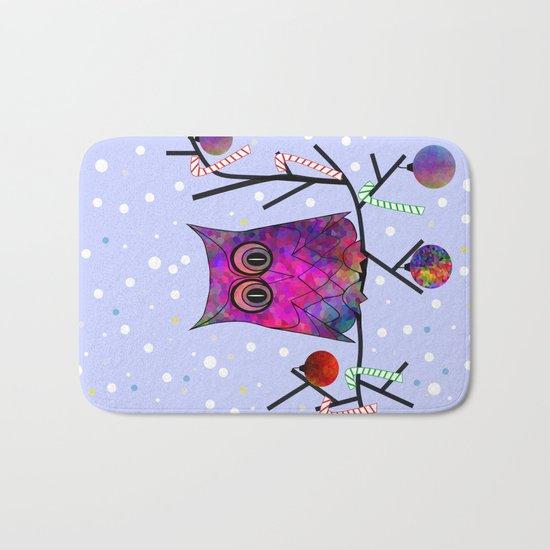 The Festive Owl Bath Mat