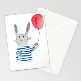 Bunny holding a red balloon Stationery Cards