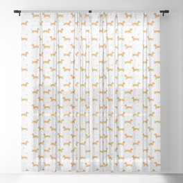 Adorable Sausage Dog and Hearts Pattern Sheer Curtain