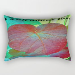 It's All About Love Heart Leaf Vector With Text Rectangular Pillow