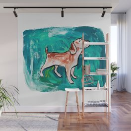 Beagle Dog Painting on Emerald Green Wall Mural