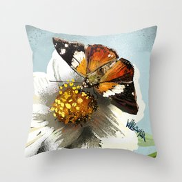 Butterfly on flower 12 Throw Pillow
