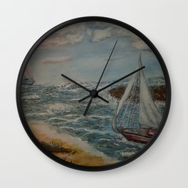 Sailing from a Safe Harbor Wall Clock