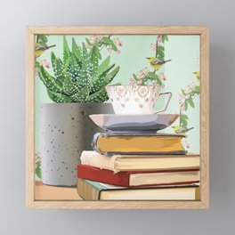 Tea and book love Framed Mini Art Print