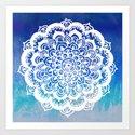 White Floral Medallion on Indigo & Turquoise Watercolor by tangerinetane