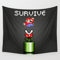 mario Wall Tapestries featuring Mario survive by eARTh