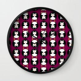 Plump Penguin Pattern Wall Clock