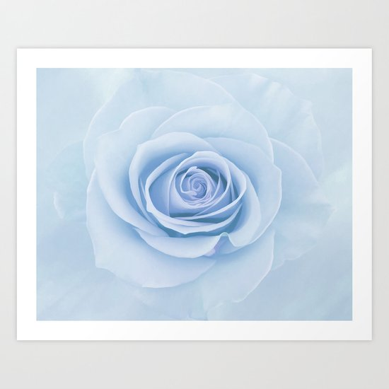 Soft Baby Blue Rose Abstract Art Print