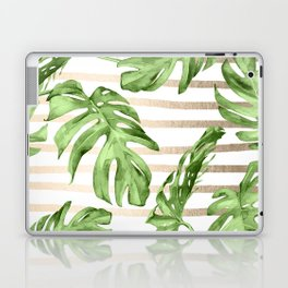 Simply Tropical White Gold Sands Stripes and Palm Leaves Laptop & iPad Skin
