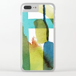 Blue and Yellow and Green Abstract Art Clear iPhone Case