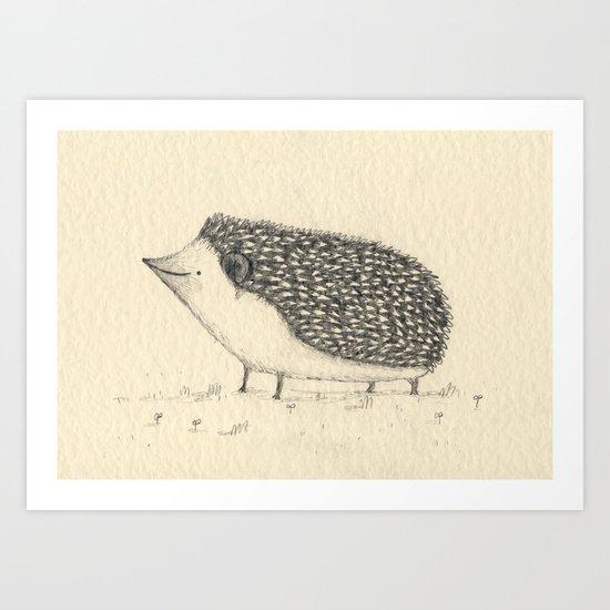 Monochrome Hedgehog Art Print