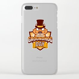 Happy Groundhog Day design Awesome Cute Groundhog design Clear iPhone Case