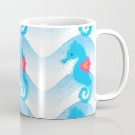 Seahorses And Blue Waves Pattern Coffee Mug
