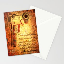 M1911 Pistol And Second Amendment On Rusted Overlay Stationery Cards