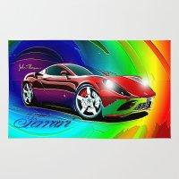 ferrari Area & Throw Rugs featuring Ferrari by JT Digital Art