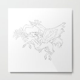 Pegasus And Angel Metal Print