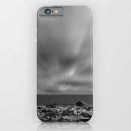 Windy Beach Black & White Abstract Coastal Landscape Photo iPhone Case