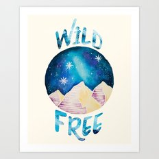 Wild & Free - Gypsy Galaxy Starscape Mountains Art Print