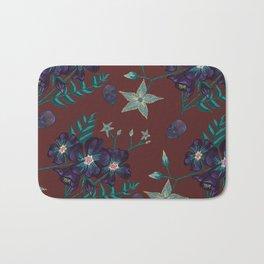 Illustration digital art purple flower pattern with skull red  background Bath Mat