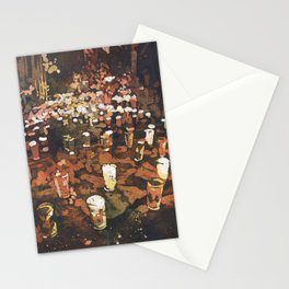 Candles in graveyard during Day of the Dead in Patzcuaro, Mexico.  Watercolor batik on rice paper. Stationery Cards