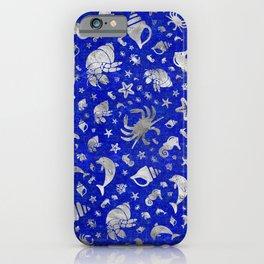 Sea life pattern Silver on Lapiz Lazuli iPhone Case