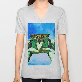 L'Aquila: fountain with two women with amphora Unisex V-Neck