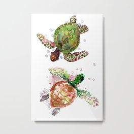 Two Underwater Sea Turtles, Olive Green Cherry Colored Sea Turtles, Metal Print