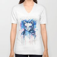 "space cat V-neck T-shirts featuring ""Space cat"" by PeeGeeArts"