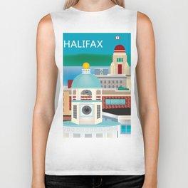 Halifax, Nova Scotia, Canada - Skyline Illustration by Loose Petals Biker Tank
