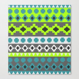 Bright tribal stripes in green and blue Canvas Print