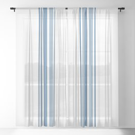 Farmhouse Blue Ticking Stripes on White Sheer Curtain