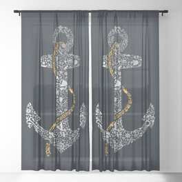 Anchor in Gold and Silver Sheer Curtain