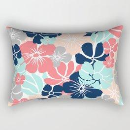 Festive, Floral Prints, Coral, Aqua, Navy, Gray Rectangular Pillow